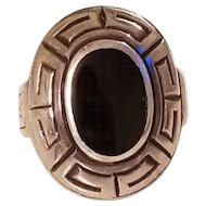 Vintage Sterling Silver Onyx Greek Key Design Statement Ring