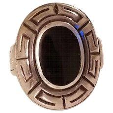 Vintage Sterling Silver Onyx Greek Key Design Statement Ring