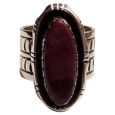 Vintage Native American Stamped Sterling Silver Ring with Purple Spiny Oyster Stone Navajo