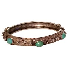Vintage Sterling Silver & Persian Turquoise Hinged Bangle Bracelet
