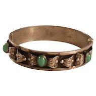 Beautiful Vintage Silver & Chrysoprase Stone Arts & Crafts Hinged Bangle Bracelet