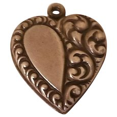 Sweet Vintage Sterling Silver Puffy Heart Charm