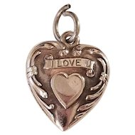 "Sweet Vintage Sterling Silver Puffy Heart Charm,""I Love You"""