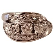 LAST CALL Stunning Art Deco Vintage 14k White Gold Diamond Ring