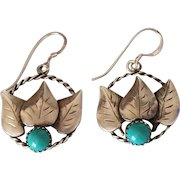 Vintage Native American Sterling Silver & Turquoise Dangle Earrings