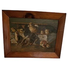 Antique Farm House Oil Painting On Board Baby Chicks