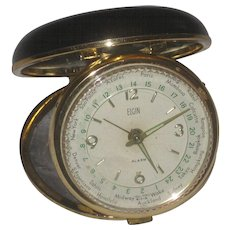 Vintage Continental Airlines Elgin World Time Travel Wind Alarm Clock