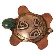 Vintage Turtle Tortoise Southwestern Brooch, Copper, Brass, Silver and Malachite