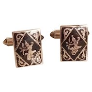 Vintage Sterling Silver Men's Siam Niello Cuff Links