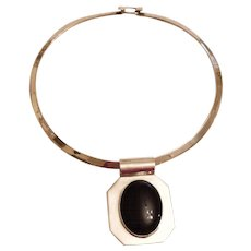 Vintage Sterling Silver Taxco Collar Necklace and Onyx Pendant