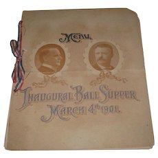 Original 1901 McKinley-Roosevelt Inaugural Ball Supper Menu Program