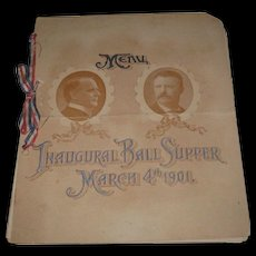 Original 1901 McKinley-Roosevelt Inaugural Ball Supper Menu Program
