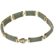 """Vintage Estate 14k Yellow Gold Jade Link Bracelet Chinese Character Clasp 7.5"""""""