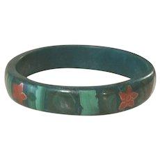 Beautiful Vintage Wide Solid Malachite Bangle Bracelet Inlaid Flowers