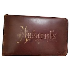 1800's Antique Leather Autograph Book New York, East Coast