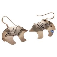 Vintage Native American Sterling Silver Hopi Bear Dangle Earrings Signed SS