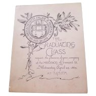 1885 Massachusetts College of Pharmacy Commencement Invitation