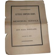 Ulysses Simpson Grant Memorial Service 1885 Invitation