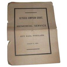 Ulysses Simpson Grant Memorial Service 1885 Invitation