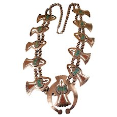 Vintage Sterling Silver Navajo Peyote Bird Squash Blossom Necklace Turquoise & Coral