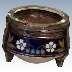 Russian Blue Enamel with Flowers Silver Plated Footed Open Salt Cellar w/Glass Bowl