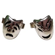 Vintage Mid Century Modernist Taxco Sterling Silver Tragedy and Comedy Mask Cufflinks