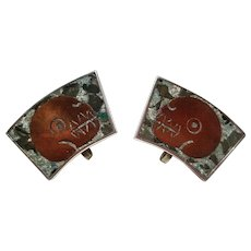 Mid Century Modern Inlaid Sterling Silver & Copper Screw Back Earrings