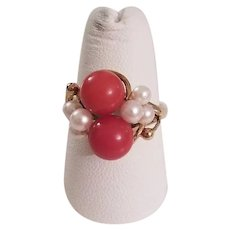 Vintage Deep Salmon Coral Bead and Cultured Pearl 14k Gold Ring