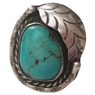 Large Vintage Chunky Turquoise Navajo Sterling Silver Ring with Feather and Stamped Design