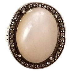 Vintage Mother of Pearl sterling Silver and Marcasite Statement Ring