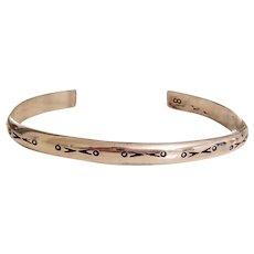 Vintage Native American Stamped Design Navajo Cuff Bracelet