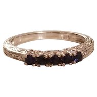Vintage Sterling Silver Sapphire and diamond Band Ring