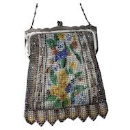 Antique Vintage Excellent 1920s Art Deco Whiting Davis Enamel Mesh Purse Handbag