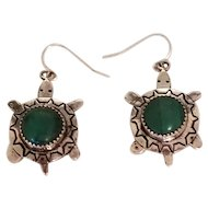 Vintage Sterling Silver & Green Malachite Turtle Native American Navajo Earrings