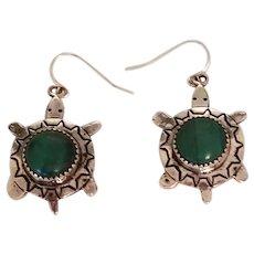 Vintage Sterling Silver & Green Malachite Turtle Native American Navajo Earrings