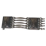 Early Old Mexico Vintage Panel & Links Bracelet 800 Silver with Mexican Aztec Masks