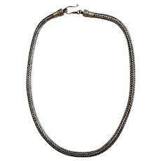 """Heavy Vintage Braided Foxtail Sterling Silver Necklace 18 1/2"""""""