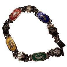 """Vintage SIAM Sterling Multi Color Enamel Niello Dancers Link  Bracelet 7"""""""