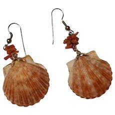 Vintage Natural Scallop Seashell & Coral Dangle Earrings