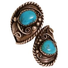 Native American Della & Presley Curley Navajo Turquoise Bypass Sterling Silver Ring