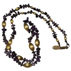 Miriam Haskell Vintage Amethyst and Brushed Gold Bead Necklace with Hang Tag