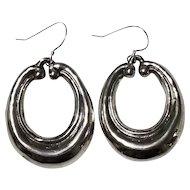 Vintage Sterling Silver Sleek Dangle Hoop Earrings