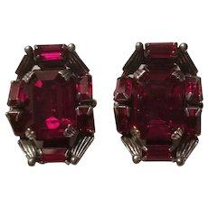 Stunning Large Vintage Sterling Silver and Ruby Red Rhinestone Clip on Earrings