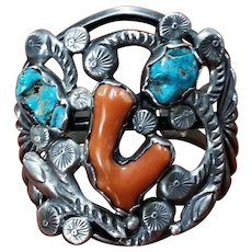 Early Dan Simplicio Zuni Sterling Silver & Branch Coral with Turquoise Nuggets Cuff Bracelet