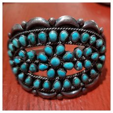 Early Navajo Sterling Silver Turquoise Petit Point Cluster Cuff Bracelet