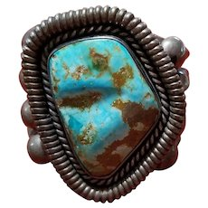 Important Early Native American Tucson Turquoise Navajo Cuff Bracelet, Sterling Silver