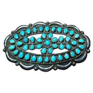 Beautiful Early Fred Harvey Era Navajo Brooch with Turquoise Petit Point Stones