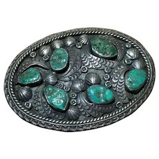 Magnificent Early Herbert Taylor signed Native American Sterling & Turquoise Belt Buckle