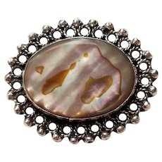 1960's Sterling Silver and Abalone Brooch Crown Hallmark Mexico