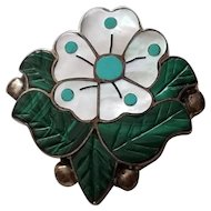 Sonny Wallace Zuni 925 Sterling Mother of Pearl Desert Rose Pin Pendant